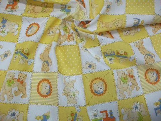 Cotone fantasia orsetto giallo for Vendita tessuti arredamento