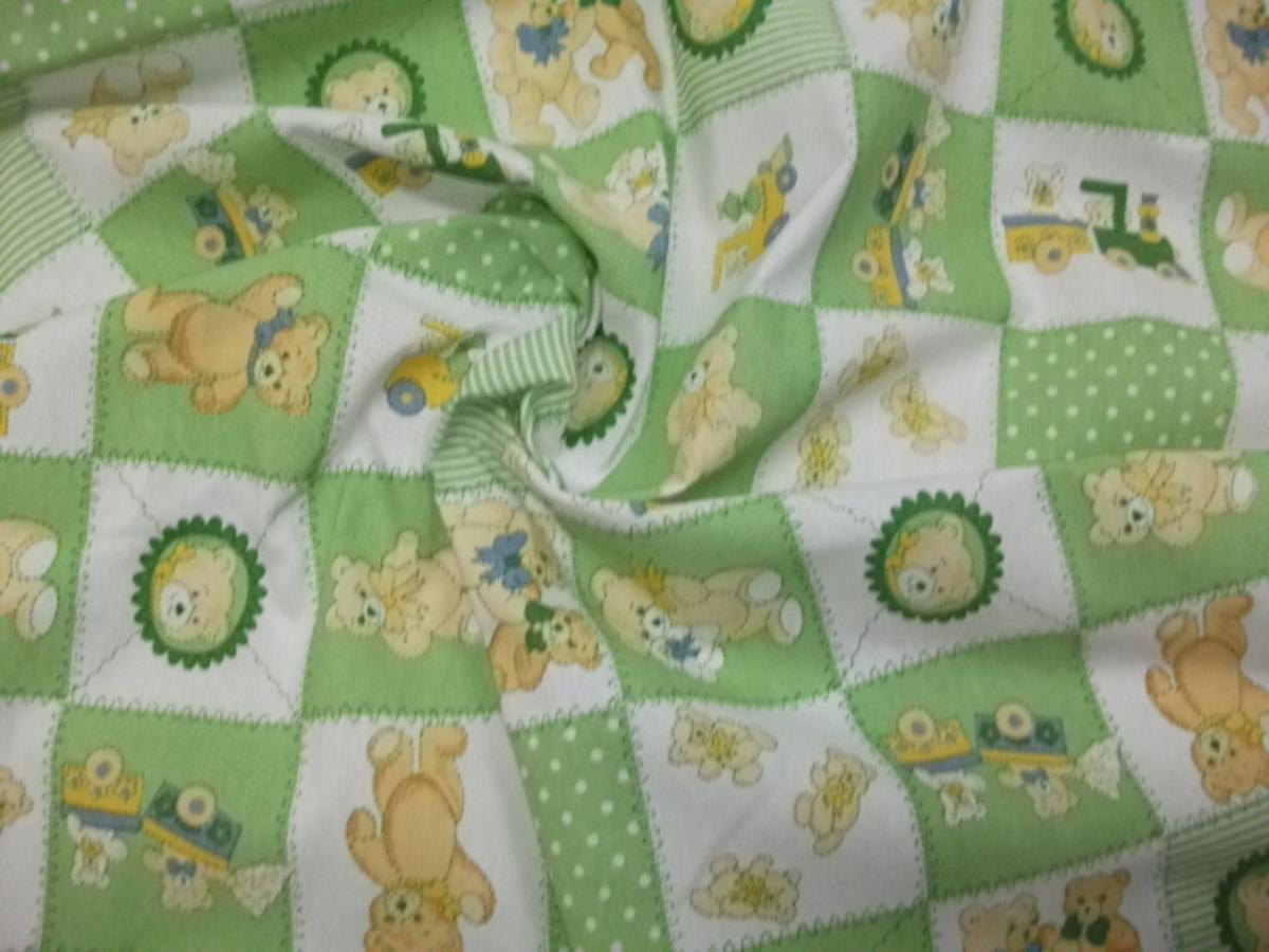 Cotone fantasia orsetto verde for Vendita tessuti arredamento